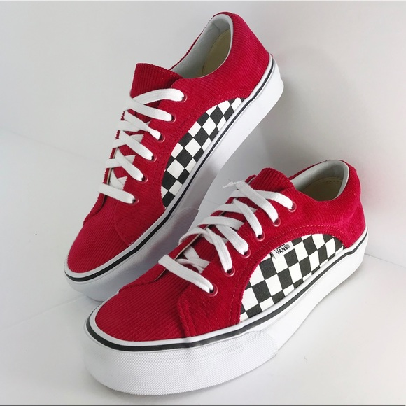 7e5cff1af3 Vans Checkerboard Red Corduroy Sneaker